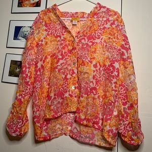 Ruby Rd. Floral Button Up w/ Sheer